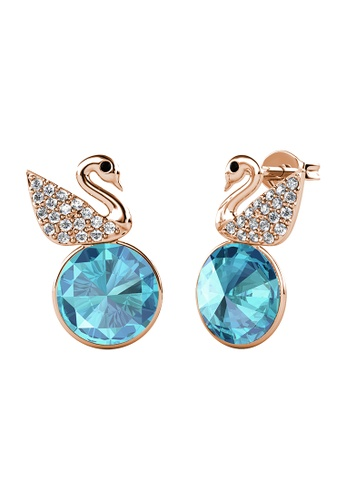 LOVE AND LIFE gold Love & Life Swan Crystal Earrings (Aquamarine - Rose Gold) embellished with Crystals from Swarovski 79740ACBCDBE6DGS_1