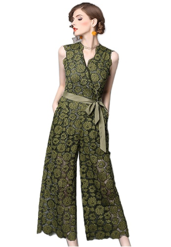 Sunnydaysweety green Summer New V- Neck Lace Vest Jumpsuit CA0628850NEW DB86DAA4F643F7GS_1