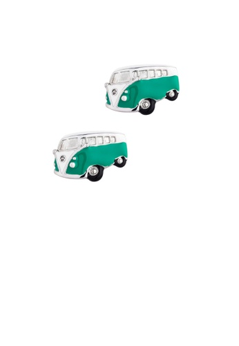 Glamorousky silver Fashion Personality Enamel Green Bus Cufflinks D289EACEB5B558GS_1