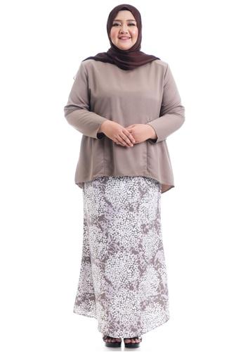 Ashura brown Shakela Kurung With Gathers Plus Size 6793EAA649292BGS_1