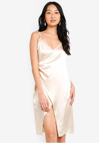 replicas discount buying cheap Petite Satin Wrap Midi Dress