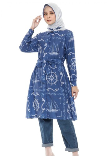 Up To DOT white and blue La Mer Tunik in Blue 3A896AA0B18D1FGS_1