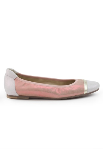Shu Talk pink Sheepskin Suede Round Cap Toe Flats SH617SH2VR9MHK_1