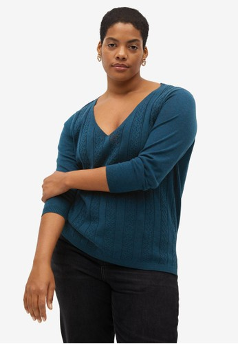 Violeta by MANGO blue Plus Size Cable-Knit Sweater EFDBCAA93FE253GS_1