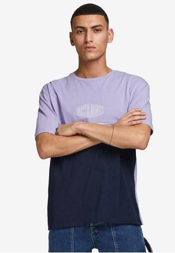 JACK & JONES purple Color Block T-Shirt 4A2C7AA4D75ED9GS_1