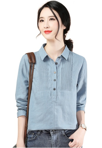 A-IN GIRLS blue Retro Lapel Long Sleeve Blouse 95FECAA6C87E85GS_1