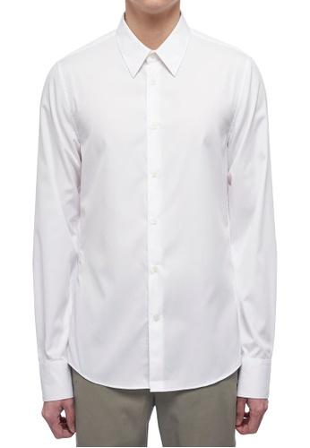 CK CALVIN KLEIN white Refined Poplin Long-Sleeved Shirt E35E4AA6A559A2GS_1