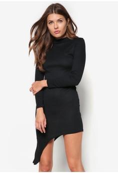 Asymmetric Hem Roll Neck Bodycon Dress