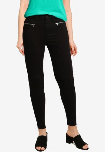 Springfield black High Rise Zips Jeans 631D8AA2EA9870GS_1