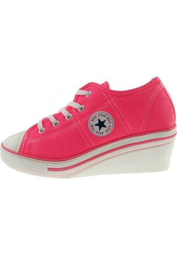 Maxstar 粉紅色 新款韩国鞋ZL-5H時尚帆布布混合女粉紅色 US Women Size MA345SH45HGWTW_1