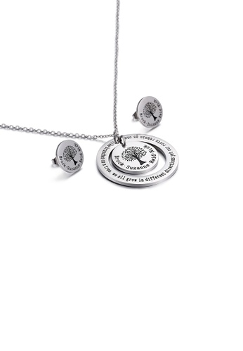 Glamorousky silver Fashion Temperament Tree Of Life Geometric Round 316L Stainless Steel Necklace and Stud Earring Set A538FACC2C77B9GS_1