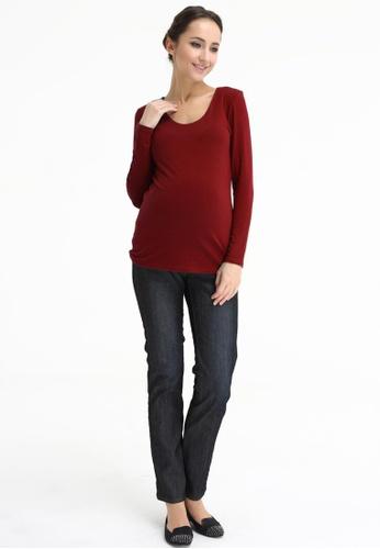 Bove by Spring Maternity red Knitted Long Sleeve Vera V Neck Nurs Top Maroon LTN3306 BO010AA0FUBJSG_1
