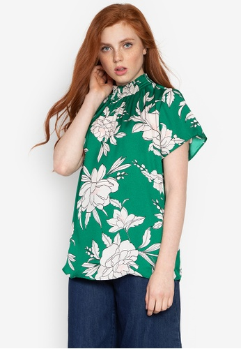 DEBENHAMS green The Collection - Col Peony Shirred Neck Blouse 31F29AA995A1F3GS_1