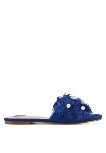 Velvet navy Pearl Feather Embellished Flats 07A9CZZD342619GS_1