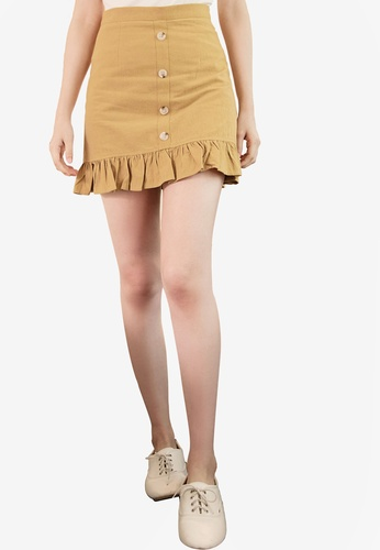 Eyescream brown Ruffle Hem Mini Skirt 8F8ABAA248CCECGS_1