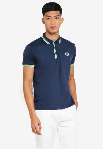 Fidelio navy Lining Collar and Sleeves Basic Polo Shirt 13D9DAA71120AEGS_1