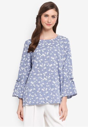 TOPGIRL blue Ribbon Detail Floral Blouse 134ECAAA381E78GS_1