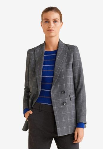 Mango grey Checkered Structured Blazer C204CAA168B261GS_1