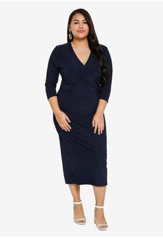 e619fa9f6e2e LOST INK PLUS Plus Size Wrap Slinky Dress RM 185.00. Sizes 16 18 20 22 24