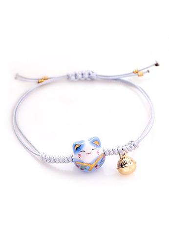 YOUNIQ blue YOUNIQ Basic Fortune Cat Lucky Charm Strap Bracelet Blue Luck for Wisdom 3AE7EACD189720GS_1