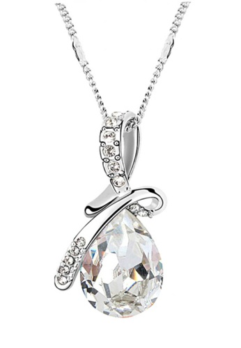 LOVENGIFTS white and silver LOVENGIFTS Tear Drop Pendant Necklace (White) LO429AC66TQFMY_1