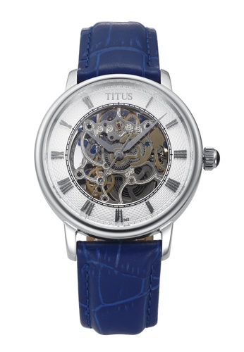 Solvil et Titus white and blue and silver Men's Skeleton Mechanical Watch SO598AC72ZULSG_1