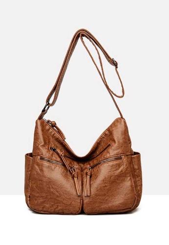 Lara brown Women's Comfortable PU Leather Zipper Shoulder Hobo Bag - Brown FE6A3ACDDFB973GS_1