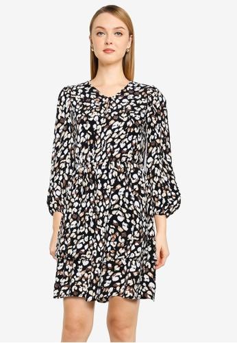Vero Moda black Chello V-neck Frill Dress C863FAAACB4068GS_1