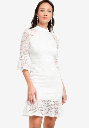 ZALORA OCCASION white Lace Ruffle Detail Dress AB69CAA4D0664CGS_1