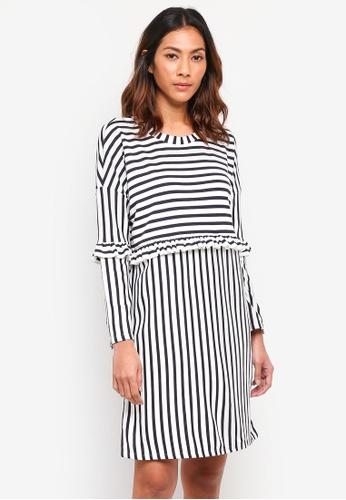 ONLY white Jenni Long Sleeve Frill Dress 26FA6AA40BAF96GS_1