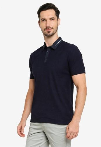 G2000 navy Stripe Woven Collar Polo Shirt 64C9BAA78E42F9GS_1