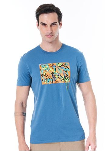 Sisley blue Printed T-shirt 8948FAAACA649AGS_1