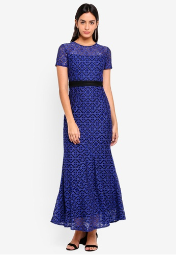 ZALORA navy Bridesmaid Two Tone Lace Midi Dress D0D27AA158D687GS_1