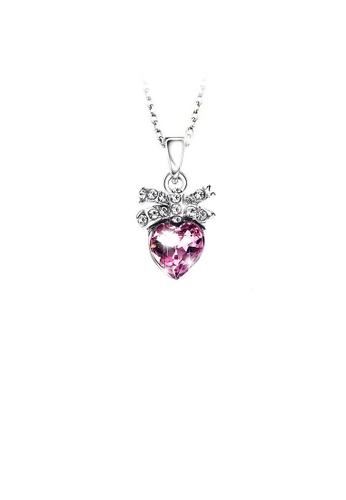 Glamorousky purple Fashion Heart Pendant with Purple Austrian Element Crystal and Necklace DF56FAC2DE9040GS_1