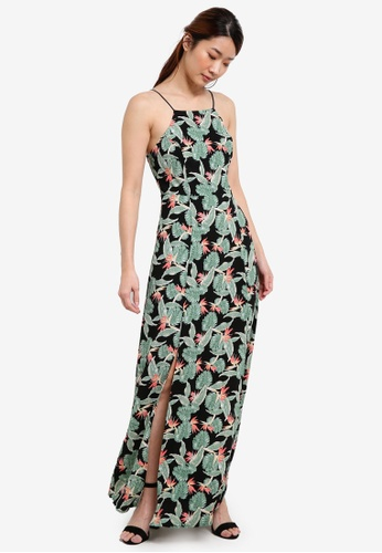 Something Borrowed black and multi Cut In Maxi Dress E54F0AAEEF4A02GS_1