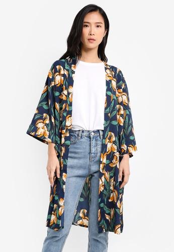 ZALORA navy Kimono with Pockets 28FDFAABF79D4BGS_1