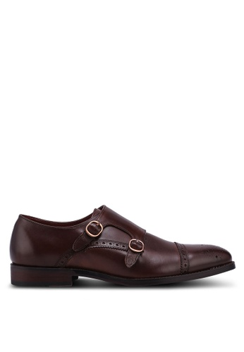 Burton Menswear London brown Tan Leather Double Strap Monk Shoes With Brogue Detailing 592A1SH3CFA87EGS_1