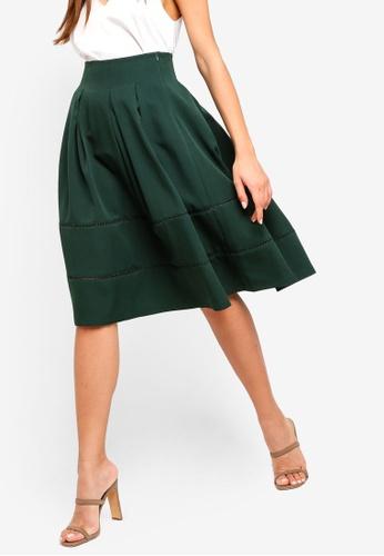 ZALORA green Faggoting Trim Skirt E7B9AAA0DE8322GS_1