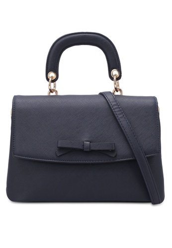 Velvet navy Top Handle Bag With Bow Detail BD516ZZF88B9D7GS_1