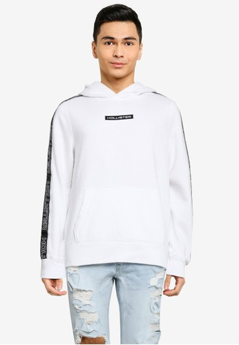 Hollister white Sport Tape Popover Hoodie CBA1FAA10ED947GS_1