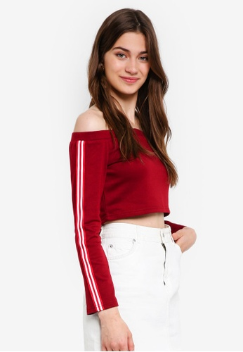 Something Borrowed red Stripe Trim Off Shoulder Top EBB74AAE50E78CGS_1