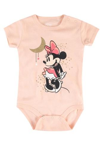 FOX Kids & Baby pink New Born Minnie Print Bodysuit 9F9DEKA5B5D77BGS_1