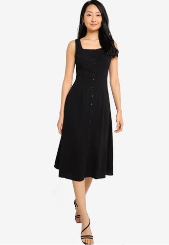 ZALORA BASICS black Square Neck Midi Dress 1D64BAAE70F1A9GS_1