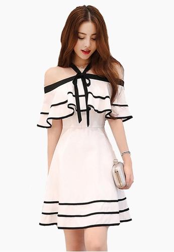 Halo white Chiffon Off Shoulder Party Dress HA405AA03SZOSG_1
