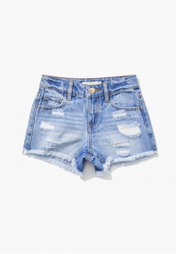 FOREVER 21 blue Distressed Denim Shorts 41E7BKA59E7CDBGS_1