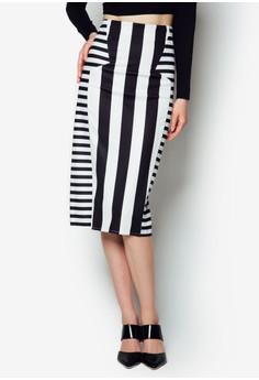 Contrast Stripes Midi Skirt