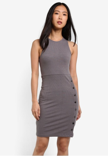 ZALORA grey Rib Dress With Side Button Detail 932DCAA34CA378GS_1