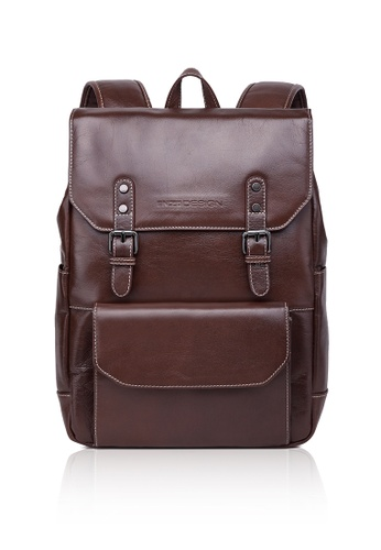 ENZODESIGN brown Textured Top Grain Cow Leather Backpack EN357AC0FQQ3SG_1