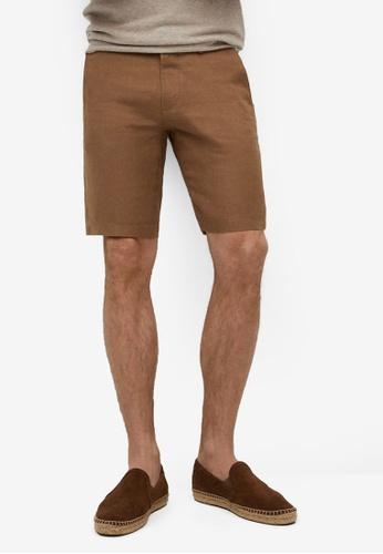 MANGO Man 褐色 100% 亞麻 短褲 0CD12AA20CCC66GS_1