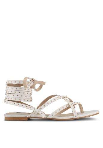 ZALORA white Pin Stud Lace-up Sandals BBD35SH1DB717BGS_1